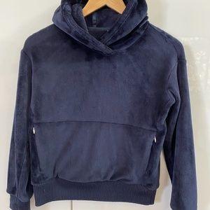 Athleta GIRL fuzzy navy blue fleece hoodie 12